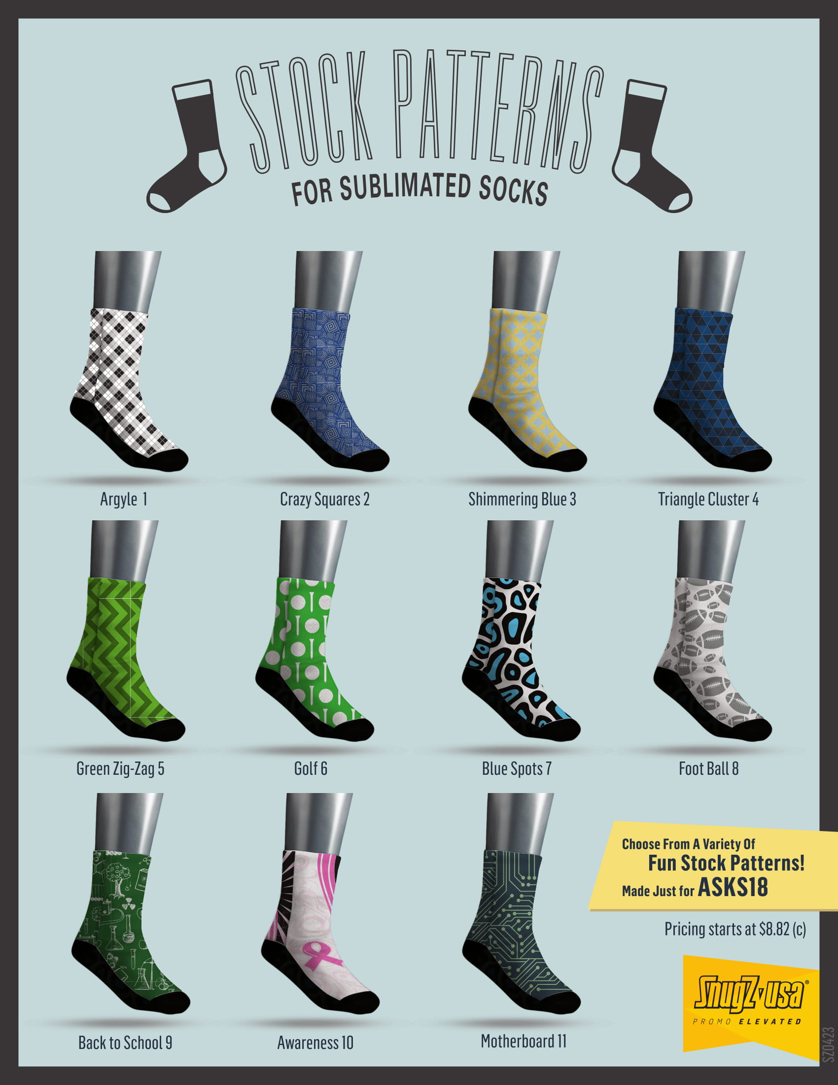 Stock Patterns For Sublimated Socks