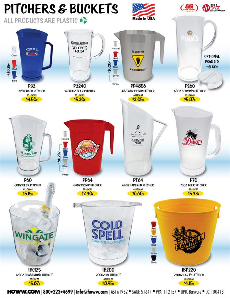 Plastic Pitchers & Buckets