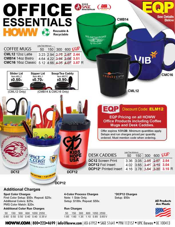 EQP Desk Caddies and Coffee Mugs