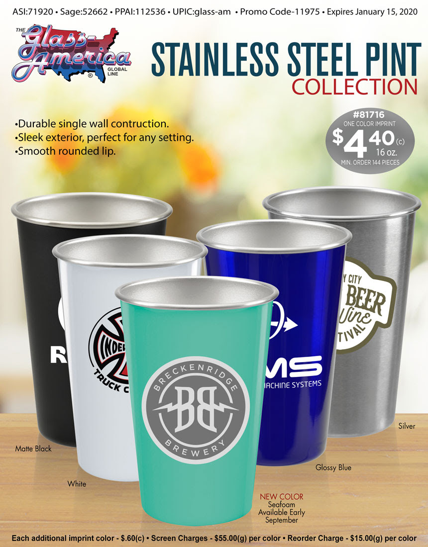 Stainless Steel Pint Collection by Glass America