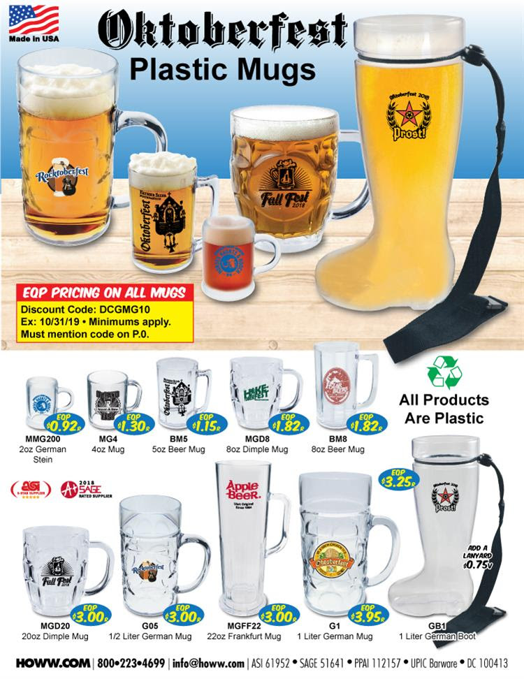 Just in time for Oktoberfest! EQP Pricing on all HOWW Mugs
