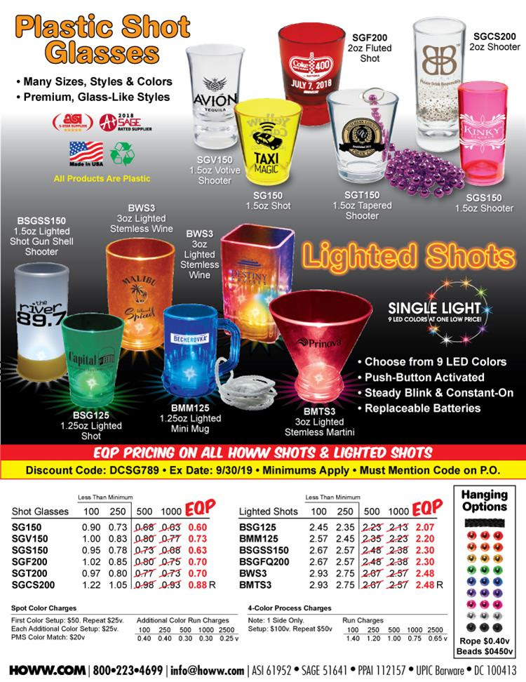 EQP Pricing On All HOWW Shots & Lighted Shots