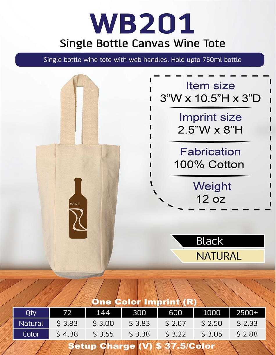 Single Bottle Canvas Wine Tote