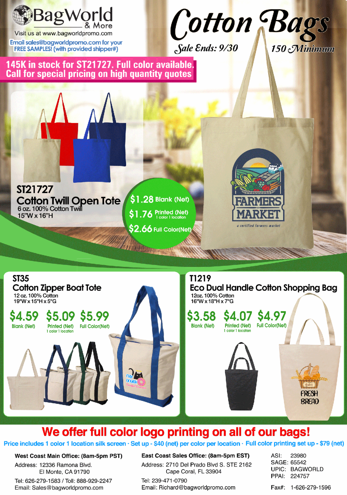 1.28 COTTON TOTES SALE