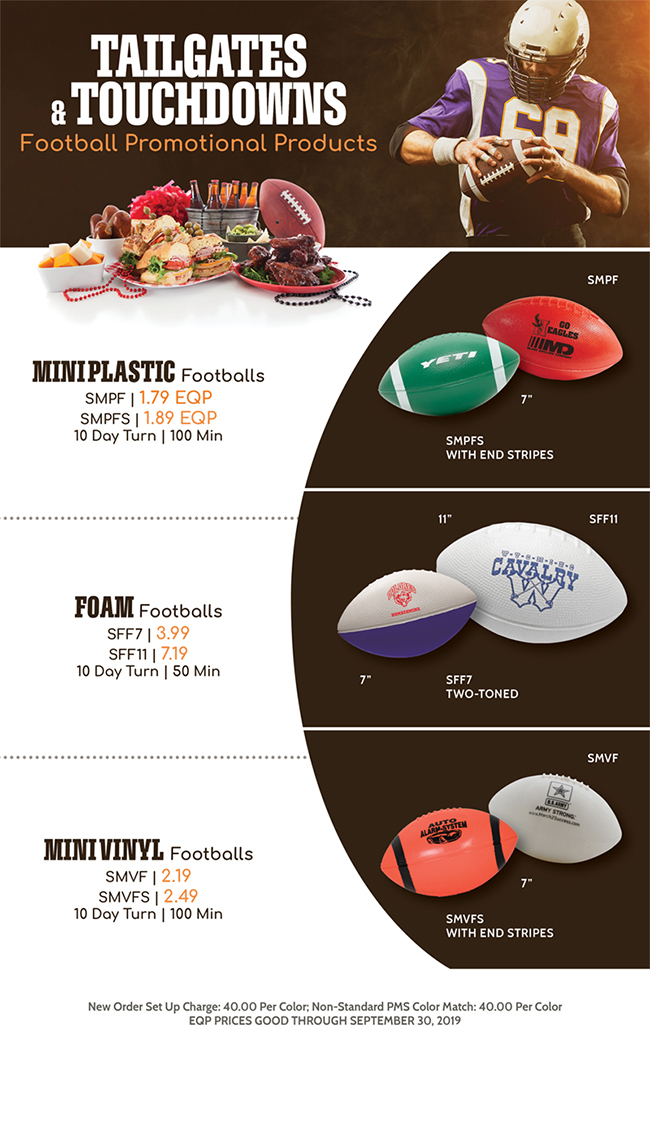 TAILGATES and TOUCHDOWNS - Football Promotional Products