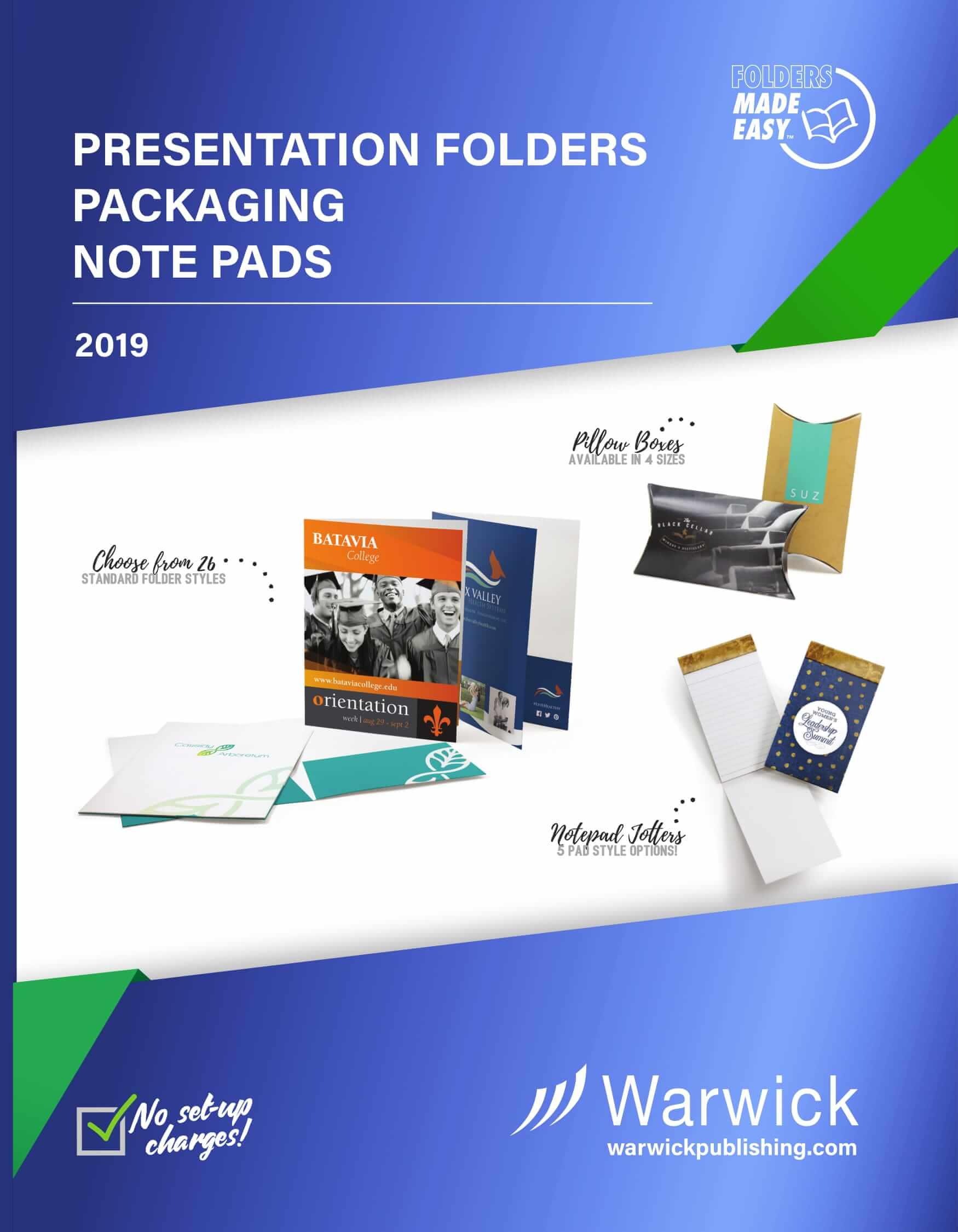 Presentation Folders Packaging Note Pads 2019