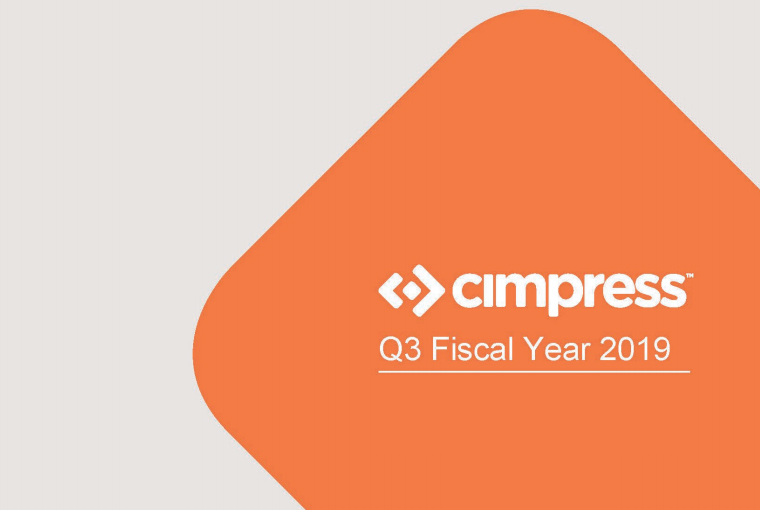 Cimpress Reports Third Quarter Fiscal Year 2019 Financial Results