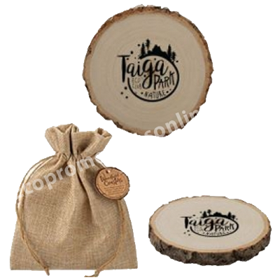 Natural Wood Coasters with Jute container Bag